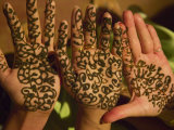 Woman's Palm Decorated in Henna  Jaipur  Rajasthan  India
