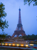 Early Evening View of Eiffel Tower and Tour Boats on the Seine River  Paris  France