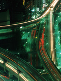 Nighttime Aerial View of Freeways and Traffic Motion  Tokyo  Japan