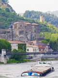 Chateau De Tournon  River Rhone and Pedestrian Bridge M Seguin  Tournon-Sur-Rhone  Ardeche  France