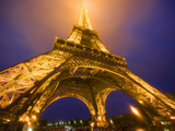Base of Eiffel Tower at Night  Paris  France