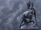 Horse Sculpture Against Storm Clouds at Entrance of Musee d'Orsay  Paris  France