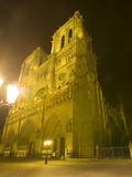 Exterior of Notre Dame Cathedral at Night  Paris  France