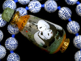 Hand Painted Panda Snuff Bottle  Chinese Bead Necklace  China