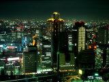 Aerial View of Downtown Skyline  Osaka  Japan