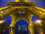 Eiffel Tower Illuminated at Night  Paris  France