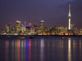 Auckland Cbd  Skytower and Waitemata Harbor  North Island  New Zealand