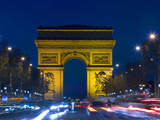 The Arc de Triomphe and the Champs Elysees at Twilight  Paris  France