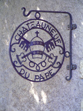 """Sign """"Chateauneuf Du Pape""""  Pope's Mitra and Saint Peter's Keys  Chateauneuf-Du-Pape"""