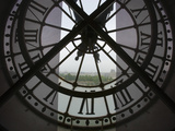 View Across Seine River from Transparent Face of Clock in the Musee d'Orsay  Paris  France