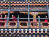 Monks in the Kichu Lhakhang Dzong  Paro  Bhutan