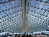 Glass Ceiling Interior of Charles de Gaulle International Airport  Paris  France