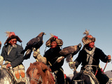 Hunters from Sagsai Sum  Bechik  Tek and Khalbek  Golden Eagle Festival  Mongolia