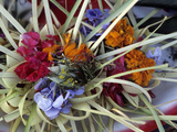 Flowers and Palm Ornaments  Offerings for Hindu Gods at Temple Ceremonies  Bali  Indonesia