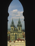 View of Tyn Church in Old Town Square  Prague  Czech Republic
