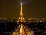 Nighttime View of Eiffel Tower and Champs Elysees  Paris  France
