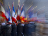 Military Ceremony with Flags at the Arc de Triomphe  Paris  France