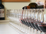 Row of Glasses for Tasting  Chateau Baron Pichon Longueville  Pauillac  Medoc  Bordeaux  France