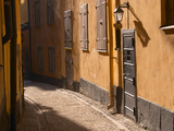Cobblestone Street in Gamla Stan  Iron Cellar Door and Old Lamp  Stockholm  Sweden