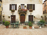 Early Morning Exterior of a Restaurant  Pienza  Italy