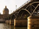 Bridge Pont Des Arts Over the Seine River  Academie Francaise  Paris  France
