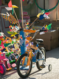 Bicycle Outside Toy Shop  Lesvos  Mytilini  Aegean Islands  Greece