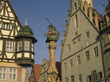Buildings and Statue of St George and the Dragon  Rothenburg  Germany