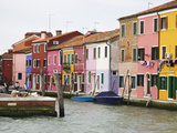 Boats and Colorful Homes in Canal  Burano  Italy