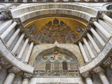 Carvings and Facade Mosaics on St Mark's Basilica  Venice  Italy