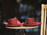 Table with Coffee and Teak Deck Garden Chair  Clos Des Iles  Le Brusc  Var  Cote d'Azur  France