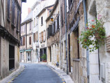 Old Town with Stone and Wooden Beam Houses  Bergerac  Dordogne  France