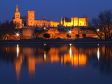 Pope's Palace in Avignon and the Rhone River at Sunset  Vaucluse  Rhone  Provence  France