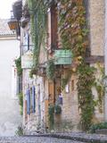 Cobblestone Street with Half Timber Stone Houses  Place De La Myrpe  Bergerac  Dordogne  France