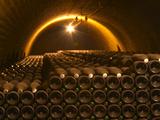 Champagne Bottles in Vaulted Cellar  Champagne Deutz  Ay  Vallee De La Marne  Ardennes  France
