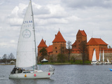 Sailboat with Island Castle by Lake Galve  Trakai  Lithuania