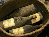 Magnum Bottles in Wooden Vat at Chateau Saint Cosme  Gigondas  Vaucluse  Rhone  Provence  France