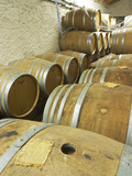 Oak Barrique Barrels with Fermenting White Wine  Jute Chateau Belingard  Bergerac  Dordogne  France