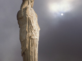 Caryatid from the Classical Era Adjacent to the Parthenon at the Acropolis  Athens  Greece
