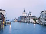 Santa Maria della Salute Cathedral from Academia Bridge along the Grand Canal at Dusk  Venice