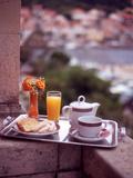 Breakfast Tea and Biscuits on Bedroom Balcony  Hotel Korcula  Korcula Island  Croatia