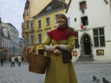 Girl in Traditional Dress  Town Hall Square  Tallinn  Estonia