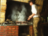 Making Duck Breast on Grill in Auberge Les Vignes  Sauternes  Bordeaux  Gironde  France