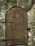 Detail of Old Wooden Door in Stone Wall  Tallinn  Estonia