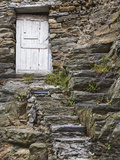 Rock Steps Lead to Old Wooden Door  Vernazza  Italy