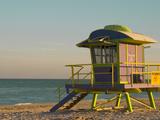 12th Street Lifeguard Station at Sunset  South Beach  Miami  Florida  USA