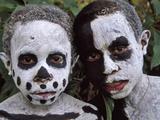 Omo Masilai Skeleton Tribes People in Omo Masilai Village  Goroka  Papua New Guinea