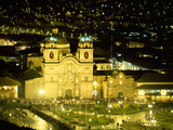 Nighttime Aerial View of the Main Square Featuring the Cathedral of Cusco  Cusco  Peru