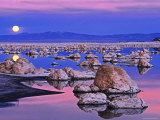 Full Moon Rises at Sunset on Mono Lake  California  USA