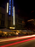 Nighttime Traffic on Ocean Drive  Art Deco Hotels  South Beach  Miami  Florida  USA