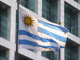 National Flag and Plaza Independencia  Montevideo  Uruguay